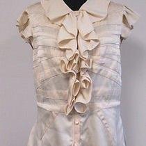 Zac Posen Ivory 100% Silk Cap Sleeve Button Up Ruffled Seems Blouse Size 10 S866 Photo