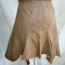 Zac Posen Lambskin Leather Mini High Waist Nos Skirt Shark Bite Hem Fluted 2 Photo