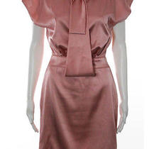 Zac Posen Peach Silk Cap Sleeve Scoop Neck Bow Strappy Back Tea Dress Sz 6 Photo