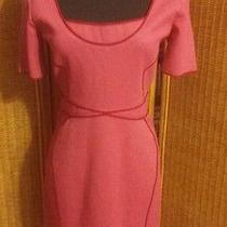 Zac Posen Pink Short Sleeve Scoop Neck Pencil Dress 12 Knee-Length Solid Viscose Photo