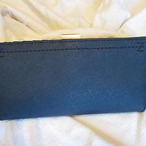 Zac Posen Posen Checkbook Wallet Chateau Navy Saffiano Leather Nwt 225 Defects Photo