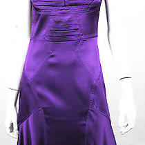 Zac Posen Purple Silk Satin Pleated Bodice Cocktail Dress 6 Photo