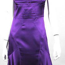 Zac Posen Purple Silk Satin Pleated Bodice Cocktail Dress 6 Photo