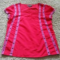 Zac Posen Scrub Shirt Size Medium M - Red/pink Photo