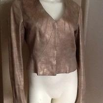 Zac Posen Sculpturing Fit Jacket Blazer Bronze Gold Coated Linen 8 Medium Photo