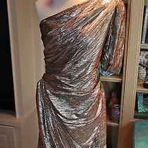 Zac Posen Silver Metallic Thread Woven Dress 1 Shoulder Size 10 Immaculate  Photo