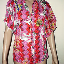 Zac Posen Size M Multicolor Short Sleeve Top Blouse Photo