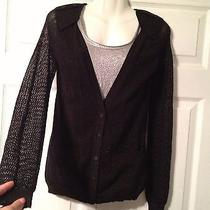 Zac Posen Sparkle Mesh Sleeve Black Cardigan Cardi Small Target Rayon Blend S Photo
