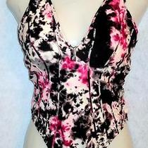 Zac Posen Swimsuit One Piece Black Pink Tie Dye Xl Deep v Lined Cross Strap Back Photo