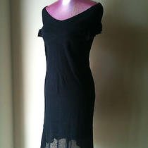 Zac Posen Target Black Stretch Knit Metallic Thread Dress Size Large Photo