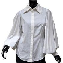 Zac Posen White Lantern Sleeve Blouse Sz 6 Fitted Double Collar Cotton  Photo