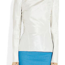 Zac Posen White Silk Taffeta Structured Top Photo