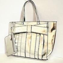 Zac Posen Z Spoke Leather Metallic Silver Bow Handbag Tote W/coin Purse -Stained Photo