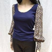 Zac Posen Z Spoke Leopard Print Silk Long Sleeve Navy Knit Top Size Xs Photo
