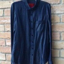 Zac Posen Z Spoke Ny Blue Shirt Top Button Front 100% Tencel Designer Sz 2 Xs Photo