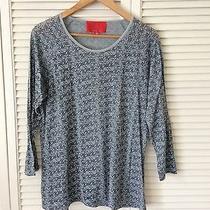 Zac Posen Z Spoketop 100% Cotton Blue & Gray Casual Long 3/4 Sleeve Sz Xl Nwot Photo