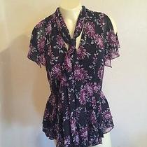 Zac Zac Posen Floral-Print Peplum Blouse Size 2 Euc Retail 635 Still in Stores Photo