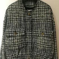 Zara 79.99 Black/white Tweed Herringbone Frayed Edged Bomber Jacket Size Xs Bn  Photo