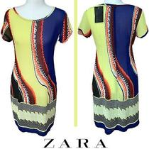 Zara Abstract Yellow Multicolor Scoopneck Womens Dress Size Small New Photo