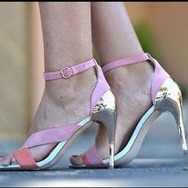 Zara Ankle Strap Sandals High Heel Strappy Shoes Pink Coral Orange Rose Gold 7.5 Photo