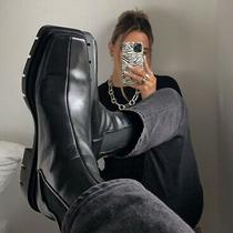 Zara Aw20 Leather Square Toe Track Sole Ankle Boots Uk 5 Eur 38 Bnwt 100 Photo