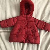 Zara Baby Girl Outerwear Collection Red Puffer Coat Warm Hooded 6 to 9 Months Photo