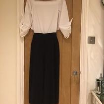 Zara Bardot Jumpsuit Navy & White 3/4 Size Medium Photo