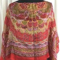 Zara Basic 100% Silk Scarf Blouse Red Floral Photo