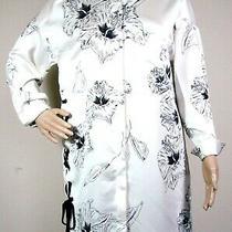 Zara Basic Button Down Top Tunic Sz Xs White Black Floral Oversized Shirt Dress Photo