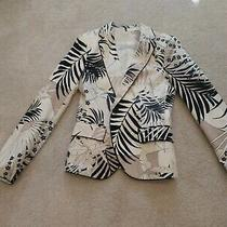 Zara Basic Floral White/black/beige Blazer Size M Photo