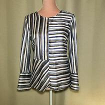 Zara Basic Satin Striped Blouse Size S Uk 8/10 Green Blue White Unusual Pattern Photo