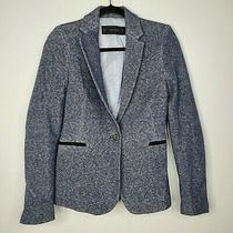 Zara Basic Size Xs Blazer Blue Gray Knit Lined Notched Collar Button Close  Photo