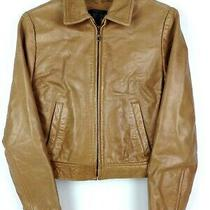 Zara Basic Womens Leather Bomber Jacket Full-Zip Lined Pockets Brown Sz M Photo
