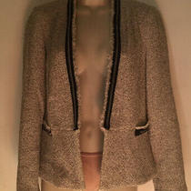 Zara Basic Womens Size M Black & White W/silver Pinstripe Cropped Blazer Photo