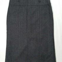 Zara Basic Women Size Medium Pencil Straight Skirt Dark Gray Herringbone Wool Photo