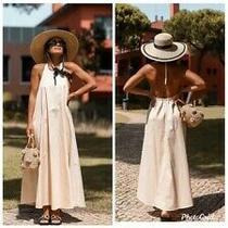 Zara Beige Halterneck Dress With Pockets Size L Bnwt Photo