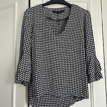 Zara Black and White Patterned Blouse Size Small Photo