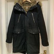 Zara Black Faux Fur Size Medium Parker Winter Coat Jacket Lots of Pockets  Photo