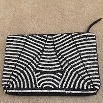 Zara Black Genuine Suede Clutch  Handbag W Black & White Beaded Art Deco Design Photo