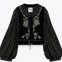Zara Black Gold Embroidered Cropped Velvet Jacket Blazer With Balloon Sleeves S Photo