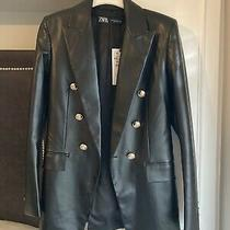 Zara Black Leather Blazer Size Xs Gold Buttons Designer Jacket Coat Military Photo