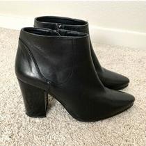 Zara Black Leather Heeled Booties Size 10 Photo