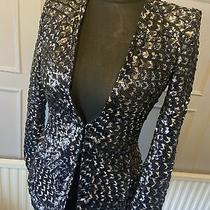 Zara Black Sequin Blazer Jacket Bloggers Favourite Balmain Trinny Rare Size Xs Photo