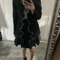 Zara Black Smart Blazer Size S New With Frills Details Photo