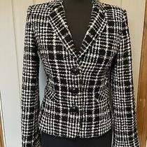 Zara Black White Check Wool Blend Tweed Jacket Blazer Size Small 8 / 10 Photo