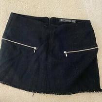 Zara Black Wool Mini Skirt Size 6/8 Small Photo
