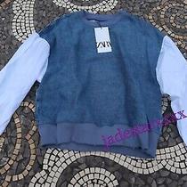 Zara Blue Contrast Top Xs Extra Small 6 New Jumper Denim Sweatshirt Photo