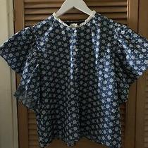 Zara Blue Denim Broderie Anglaise Frill Sleeve Blouse Xl Bnwt Photo