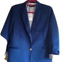 Zara Blue Lined Blazer Sz Xl Fits Sz 12 Approx. Bnwt Rrp 80 Euros Photo