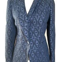 Zara  Blue Tux Tuxedo Jacket Blazer Size Xl 12 Geometric Pattern Blogger Photo